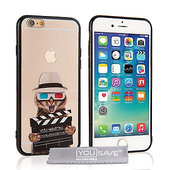 Yousave Accessories Iphone 6 And 6s Fun Case - Film Cat Design