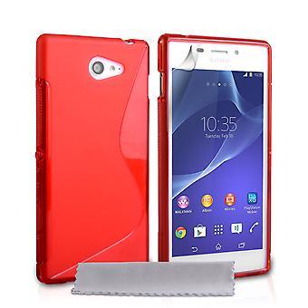 Caseflex Sony Xperia M2 silikonowy żel S-Line Case - czerwony