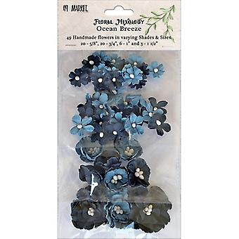 Floral Mixology Paper Flowers Assorted Sizes 49/Pkg-Ocean Breeze 49FM-85762