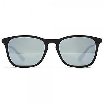 Ray-Ban Junior Keyhole Square Sunglasses In Black Rubber Green Silver Mirror