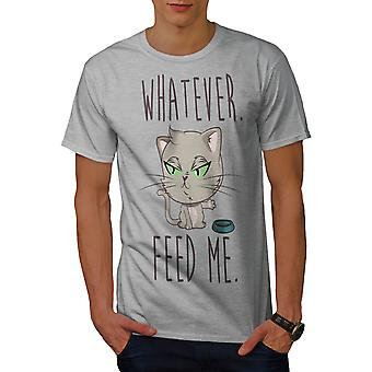 Feed Me Cat Men GreyT-shirt | Wellcoda