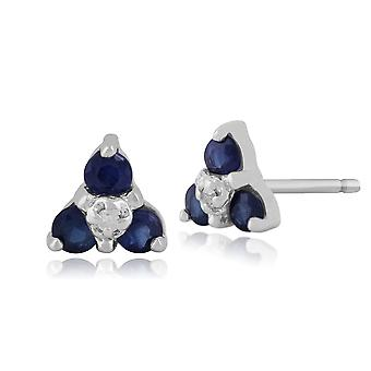 9ct White Gold 0.30ct Sapphire & Diamond Classic Cluster Stud Earrings