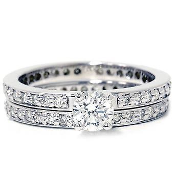 Diamant Engagement bague de mariage Set 14K or blanc pavé de diamants mince bande 1 1/5