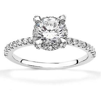 1ct Diamond Halo Engagement Ring 14K White Gold