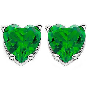 1ct Herzform simuliert Smaragd Ohrstecker Ohrringe 14K White Gold