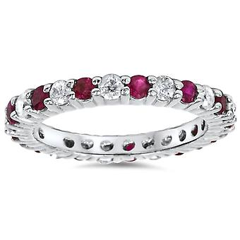1 1/2ct Ruby & Diamond Eternity Ring 14K White Gold