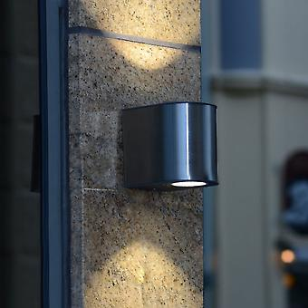 Lutec Gemini Medium 24W Exterior LED Up And Down Wall Light In Stainless Steel