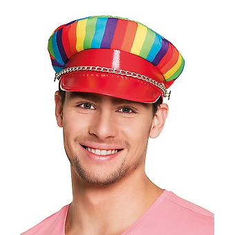 Boland Gay Pride Rainbow Rocker Cap With Chain Fancy Dress Costume Hat