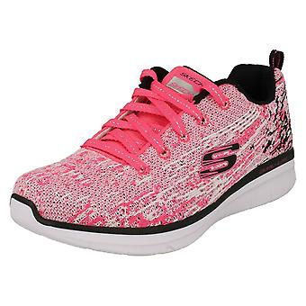 Girls Skechers Sports Trainers High Spirits 81620 - Neon Pink/Black Textile - UK Size 9.5 - EU Size 27  - US Size 10.5