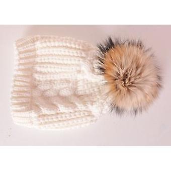 Cable Knit Detachable Faux Fur Pom Pom Hat White