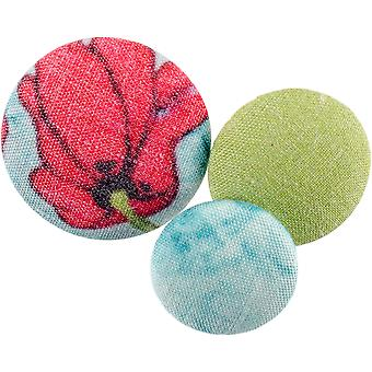 Fabricraft - Fabric Covered Buttons 8/Pkg-Red Poppy