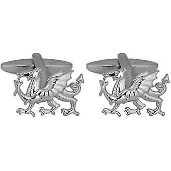 David Van Hagen Welsh Dragon Cufflinks - Silver