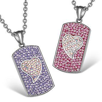 Magic Hearts Austrian Crystal Love Couple Best Friends Fuscia Pink Purple Rainbow White Necklaces