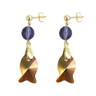 أقراط البنفسجي-السيدات مطلية بالذهب سم 3-الأسماك-أورانج-غولدن براون-----