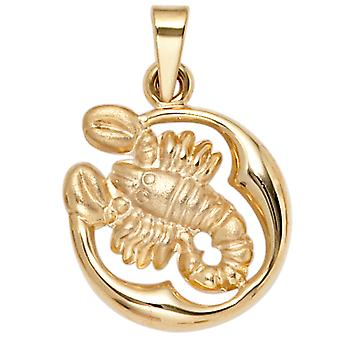 Zodiac pendant zodiac sign Scorpio 375 partially frosted gold yellow gold