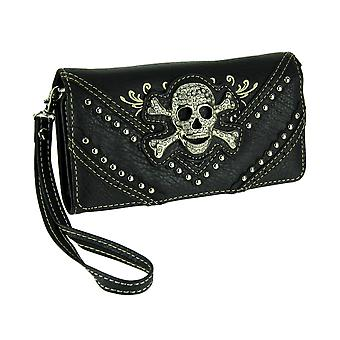 Sparkly Studded Western Skull Concealed Carry Purse and Wallet Set