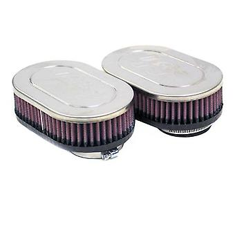 K&N RC-2382 Universal Clamp-On Air Filter: Oval Straight; 2.125 in (54 mm) Flange ID; 1.75 in (44 mm) Height; 6.25 in x