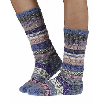 Finisterre warm handmade wool knee-high socks in violet | By Pachamama