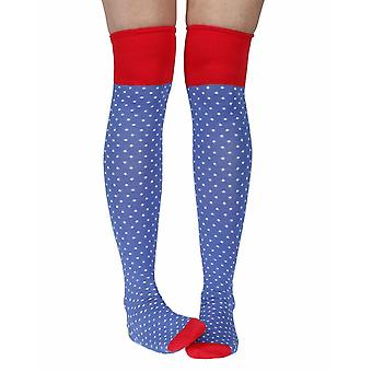 Polka Dot Women's Bamboo Over-the-Knee Socks In Blue | By Doris & Dude