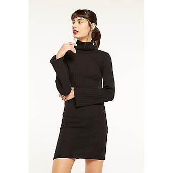 Side Party Ribbed Mini Dress With Bell Sleeves