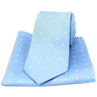David Van Hagen Polka Dot stropdas en zak plein Set - Sky blauw/wit