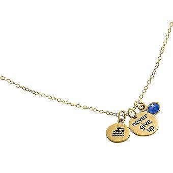 Flotteur de chaîne de Gemshine -Never Give Up- 925 argent, plaqué or, bleu saphir rose