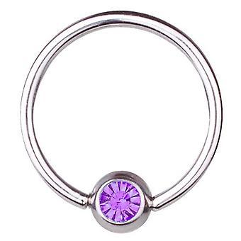 BCR titanio, Piercing, anillo de cierre de bola 0, 8mm, elementos de SWAROVSKI morado | 6-12 mm