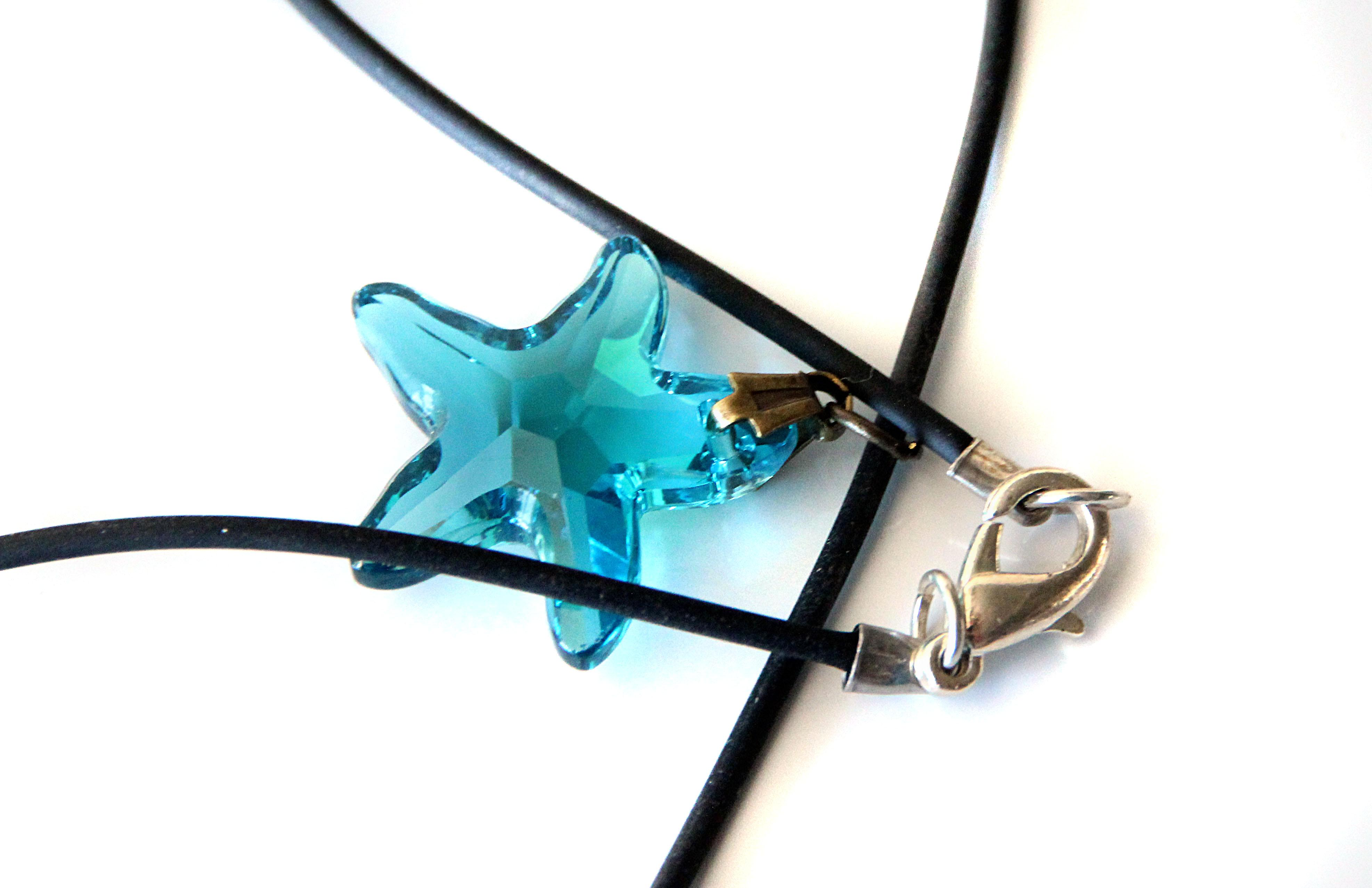 Waooh - Jewelry - Swarovski / Pendant blue star and waxed cord