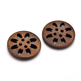 Packet 5 x Brown Wood 25mm Round 4-Holed Sew On Buttons HA11055