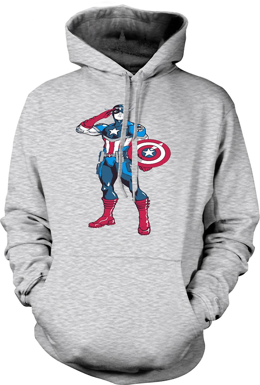Mens Hoodie - Captain America Superhero - Sketch