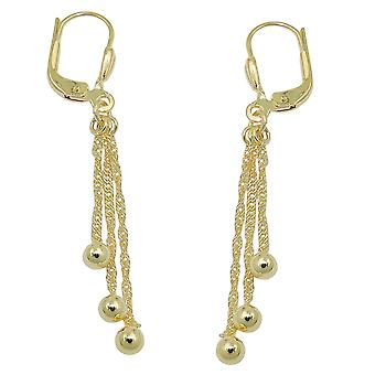 Brisur 47x5mm earring with 3 chains and ball 8Kt GOLD