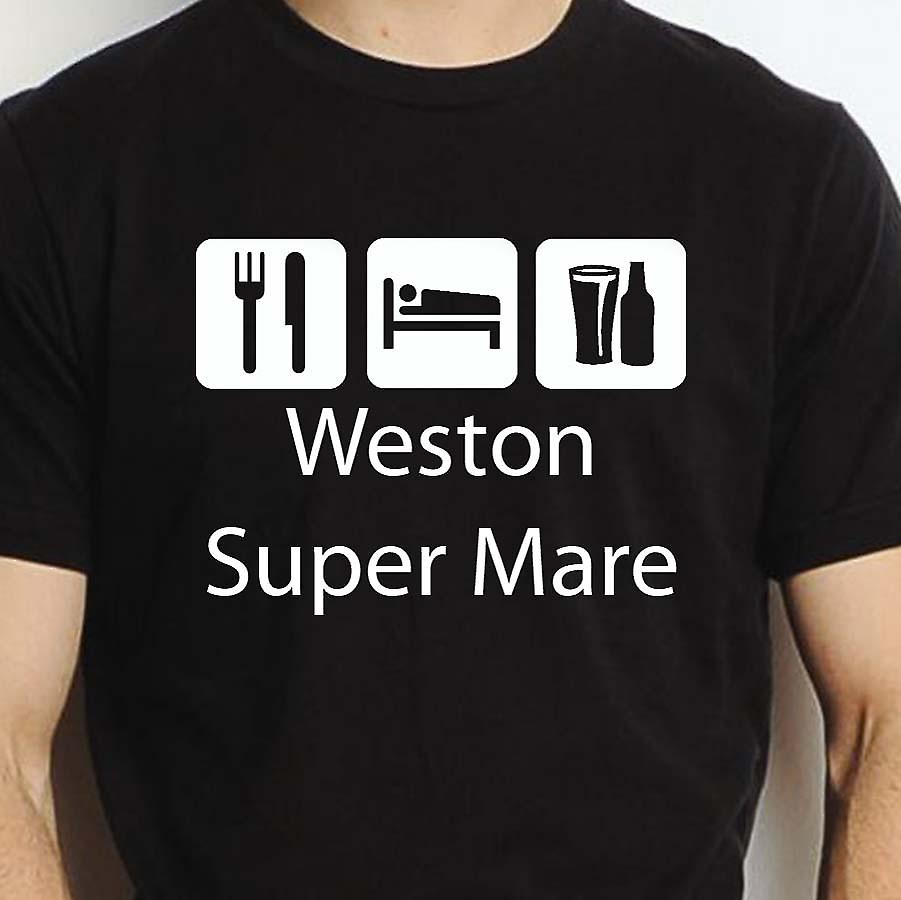 Eat Sleep Drink Westonsupermare Black Hand Printed T shirt Westonsupermare Town
