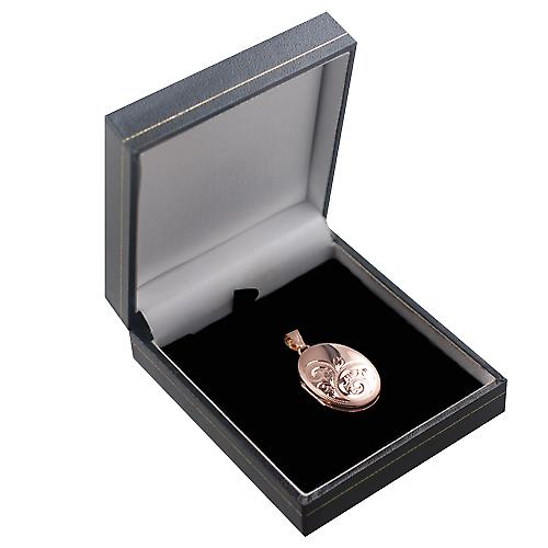 9ct Rose Gold 27x20mm hand engraved oval Locket