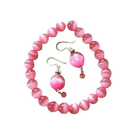 Pink Cat Eye Faceted Bead Sterling Silver 92.5 Earrings & Bali Silver