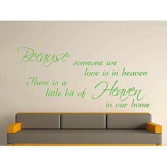 Fordi nogen væg kunst klistermærke - Apple Green