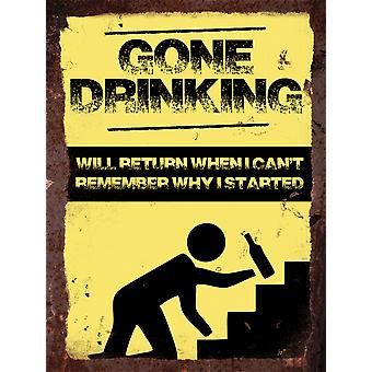 Vintage Metal Wall Sign - Gone Drinking