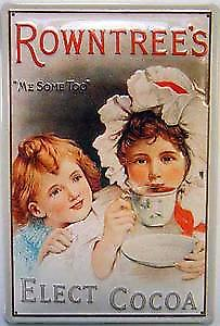 Rowntrees Elect Cocoa embossed steel sign