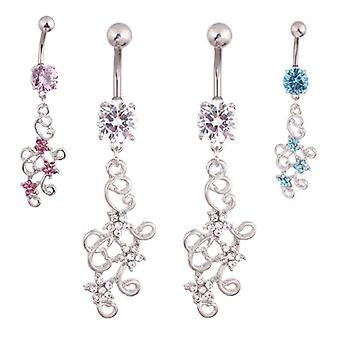 Navelpiercing diamant blommor