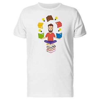 Man Meditating With Books Tee Men's -Image by Shutterstock