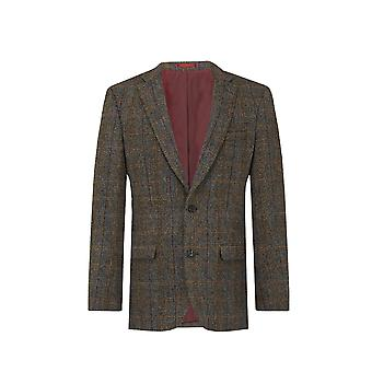 Harris Tweed Mens Brown with Blue Overcheck Tweed Jacket Regular Fit 100% Wool Notch Lapel