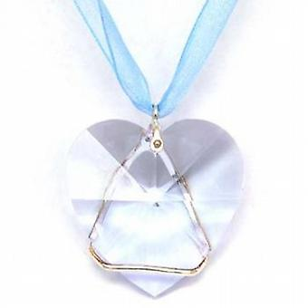 Toc Swarovksi Crystal 40mm Heart Pendant on an 18 Inch Organza Ribbon