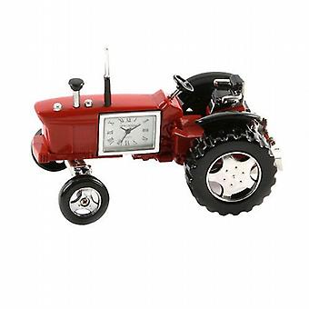 Miniature Farmers Tractor Red Novelty Desktop Collectors Clock 9236R