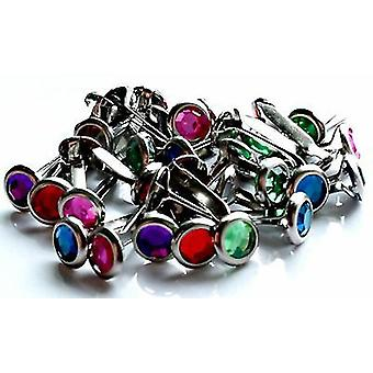 Woodware 6mm Round Rhinestone Gem Brads - Assorted Colours - Split Pin - 32 pc