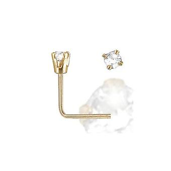 Jewelco London Ladies Solid 9ct Yellow Gold White Round Diamond Solitaire Claw Set Nose Stud