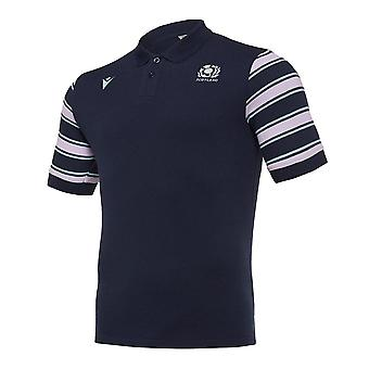2019-2020 Schotland macron Rugby Leisure Stripe Polo shirt (Navy)