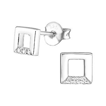 Square - 925 Sterling Silver Cubic Zirconia Ear Studs - W30933X