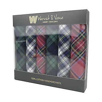 6 Pack Herren/Herren Taschentücher Baumwolle Tartan blau rot grün Geschenk verpackt