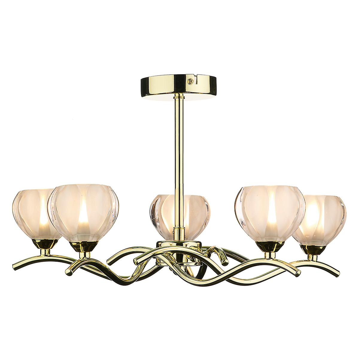 Dar CYN0540 Cynthia Traditional Brass 5 Arm Semi-Flush Ceiling Light With Glass