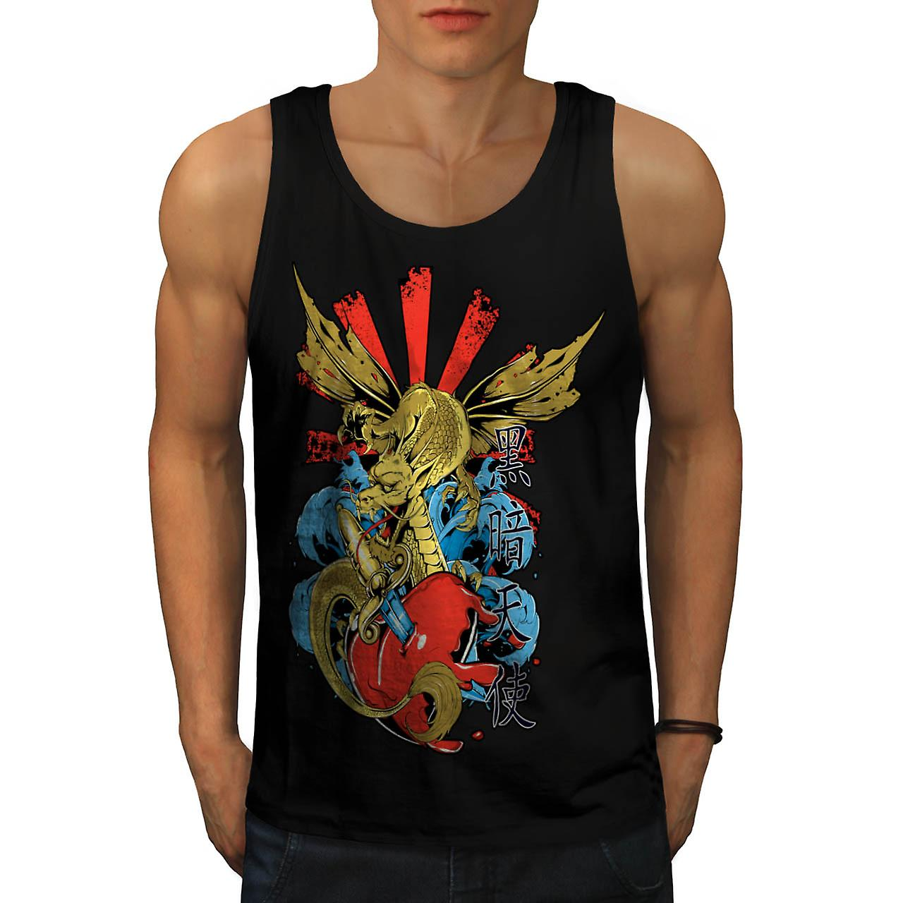 Monster Dragon Heart Love Hurts Men Black Tank Top | Wellcoda