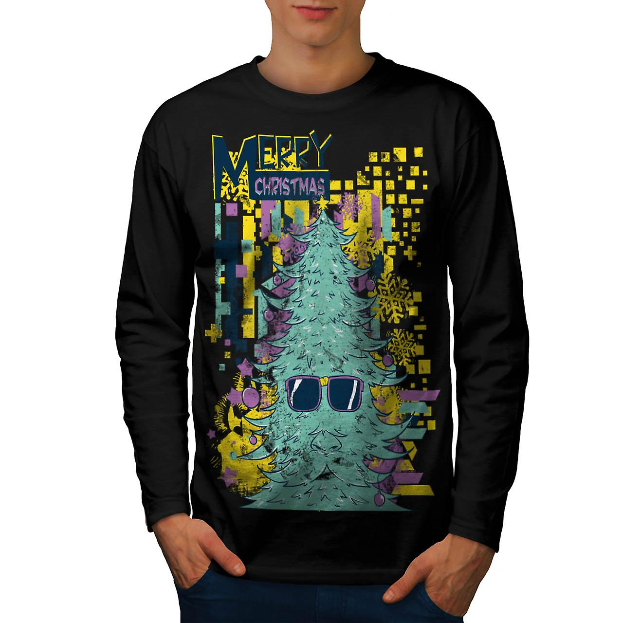 Merry Hipster Christmas Men Black Long Sleeve T-shirt | Wellcoda